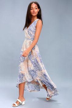 d22314b2f5 Desert Trip Peach Floral Print High-Low Wrap Dress