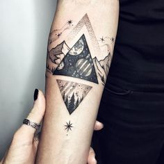 Cosmic triangle is not by me, but I added the small one and the natural brace ❤️✨ #tattoo #ink #blacktattoo #linework #dotwork #mountains #forearm #myforestink