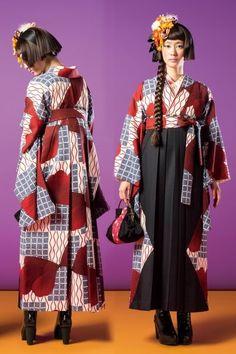 Let's Love Kimono! — business in the front, party in the back Geisha, Yukata Kimono, Kimono Fabric, Oriental Dress, Oriental Fashion, Modern Kimono, Kimono Design, Japanese Outfits, Japan Fashion