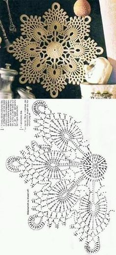 51 Ideas knitting charts snowflake free pattern for 2019 Free Crochet Doily Patterns, Crochet Doily Diagram, Crochet Motifs, Crochet Mandala, Crochet Chart, Crochet Squares, Thread Crochet, Crochet Designs, Crochet Doilies