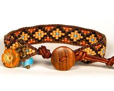 Telar cuero Wrap Pulsera Rusty Orange semilla marrón turquesa bolas pulsera pulsera Boho bohemio joyas