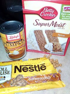 3 ingredient butterscotch pumpkin muffins OMG!! Client brought these to me for Xmas.... YUM!