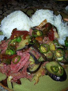 Garden Fresh Eggplant with Corned Beef Guam Recipes, Hawaiian Recipes, Corned Beef, Eggplant, Dishes, Fresh, Cooking, Garden, Filipina