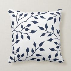 Shop Elegant Leaves Throw Pillow / Navy White created by Orabella. Navy Blue Throw Pillows, Blue And White Pillows, Navy And White, Elegant Home Decor, Elegant Homes, Custom Pillows, Decorative Throw Pillows, Cushion Embroidery, Houses