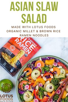 Asian Slaw Salad with Ginger Miso Dressing made with Lotus Foods Organic Millet Asian Slaw Salad, Best Coleslaw Recipe, Salad Recipes, Vegan Recipes, Food Inc, Miso Dressing, Large Salad Bowl, Cabbage Recipes, How To Make Salad