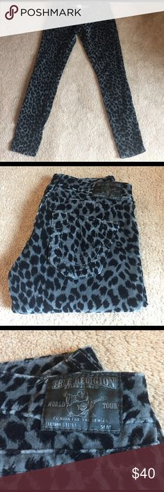 True Religion Stella velour cheetah print skinnys Absolutely adorable pair of gently worn True Religion Stella cheetah velour skinny pants! Black and gray pattern. Super soft and comfortable with a minimal stretch. Smoke free home. Size and material tags previously removed. Size listing of size 25 will reflect how I measured. Measurements taken are as follows: Flat waist 14.25. Inseam 28.25. Front rise 6.25. Pant leg bottoms opening 5. True Religion Pants Skinny