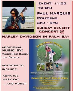 Well.. It's Official, Kiddies!!!!  I'll be performing this TODAY, SUNDAY from 3-5 pm, at Harley Davidson of Palm Bay, for a Concert Benefit!!!  Come check out an awesome Time, for an awesome Cause...  See ya There....   LIVE, BABY, LIVE!!!!!