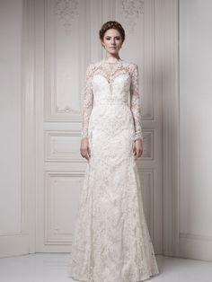 Ersa wedding dress lace long sleeves white ivory vintage style ...