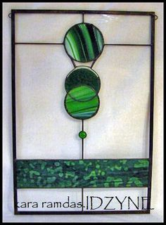 Stained Glass Art Panel in Greens by idzyne on Etsy