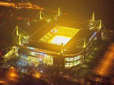 Westfalenstadion, photographed by Hans BlosseyNachts über Dortmund Europa League, Dortmund Fans, Red Star Belgrade, Soccer Stadium, Nottingham Forest, Live Matches, World Of Sports, Germany, Marco Reus