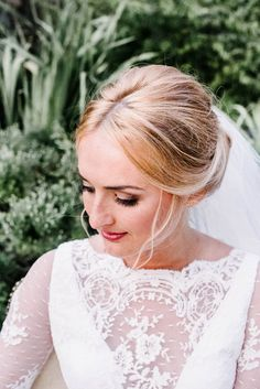 Lace dress + romantic updo + natural makeup | Image by AGPcollective