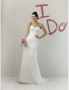[$319.99] Lace Sweetheart Strapless Neckline Sheath Wedding Dress with Bow back Waistband