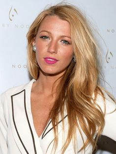 Blake Lively - tousled waves, bronzed skin and hot pink lips | allure.com