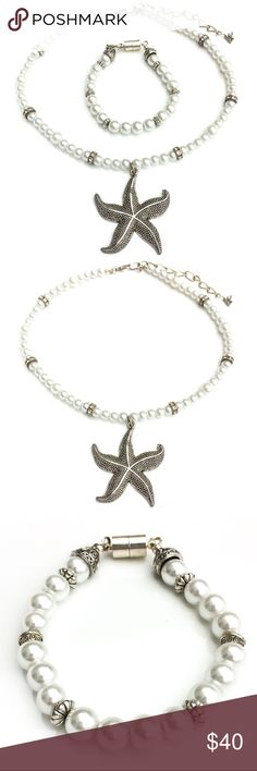 "Hand Crafted Starfish Glass Pearl Set Necklace Features stunning starfish pendant with lots of detail pairs beautifully with a shining pearl necklace with silver accents. Necklace 16"" - 20"", starfish 2 1/2"" x 2 1/2"". Bracelet 7.5"" with magnetic clasp closure. Jewelry Necklaces"