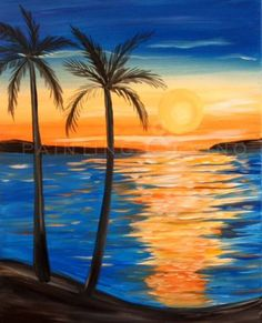 Painting & Vino: Island Sunset - Tuesday, June 6 p. to 9 p. Beach Sunset Painting, Sunset Art, Beach Art, Easy Canvas Painting, Canvas Art, Buddha Canvas, Tropical Art, Beginner Painting, Pictures To Paint