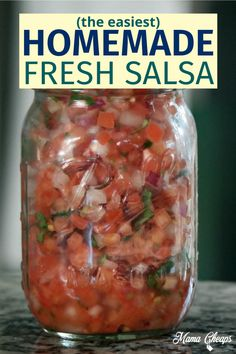 This is where summer and flavor collide! Look no farther for a fresh taste of summer! Cilantro and tomatoes explode in happy unison for this Fresh Tomato Salsa Recipe! Grab some fresh ingredients and enjoy this family favorite side dish. We love making fresh salsa throughout the year. It holds up great for a few days in the refrigerator or also works great when canned. Give it a try! Super easy recipe! #recipe #salsa #canning #masonjar #mamacheaps Cooked Salsa Recipe, Salsa Canning Recipes, Best Salsa Recipe, Mexican Salsa Recipes, Tomato Salsa Recipe, Fresh Tomato Recipes, Fresh Tomato Salsa, Recipe For Fresh Tomatoes, Salsa Recipe No Cilantro