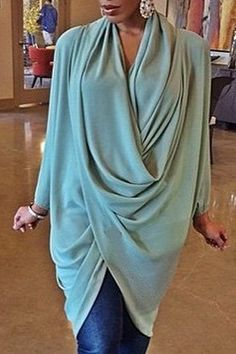 Women's Trendy Cowl Neck Long Sleeve Pure Color Coat