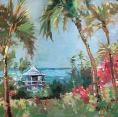 """Lifeguard- At The Office by Mary Maxam Oil ~ 8"""" x 8"""""""
