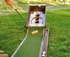 Backyard games 183662491037130958 - This fun game combines a golf putting green with arcade skeeball, allowing you to putt golf balls up into the scoring holes instead of rolling them by hand. Diy Yard Games, Lawn Games, Diy Games, Backyard Games, Outdoor Games, Party Games, Outdoor Drinking Games, Outdoor Fun, Backyard Ideas