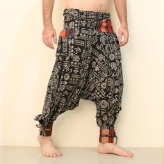 """eSiamCenter Pantalones Harem Festival OM -Fabric: 100% Cotton Color or Pattern: OM Burning Man pattern Around Waist: 36"""" Leg Length: 37"""" Inseam Length: 22"""" Fit for Size XS-S-M (8-10-12) Quality: New More Details: front tie waist, 2 outside pocket, embroidered cuffs"""