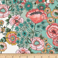 Sketchy Floral Knit Fabric with drawings of blue, pink and red flowers from Wild Bloom by Bari J. Flower Shower Subtle Fabric Print for garments.