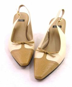Stuart Weitzman Pointed Toe Slingback Tan Beige Ankle Strap 7 5 Heels Pumps | eBay
