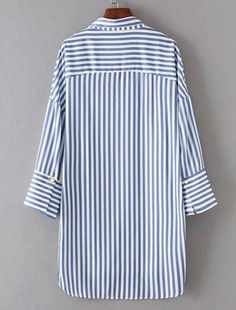 Shop Vertical Striped High Low Shirt Dress at ROMWE, discover more fashion styles online. Gilet Long, High Low Shirt, Maxi Robes, Dress Shirts For Women, Mode Hijab, Vertical Stripes, Japan Fashion, Hijab Fashion, Dress Patterns