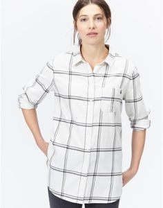 EASTLEY Long Line Boyfriend Check Shirt