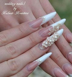 ideas for nails acrilico elegantes largas Coffin Nails Long, Stiletto Nails, Really Cute Nails, Edge Nails, Long Nail Designs, Nail Time, Wedding Nails Design, Hair Skin Nails, Luxury Nails