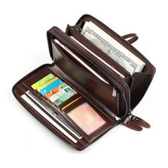 Leather Clutch Bags, Leather Handbags, Leather Wallet, Rfid Wallet, Clutch Wallet, Long Wallet, Retro, Slot, Men's Bags