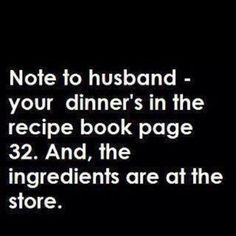 My husband would actually look at that page and he would also to store for the ingredients!  #myhusbandrules #1ofakind