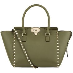 Valentino Garavani Rockstud Top Handle Bag (110.785 RUB) ❤ liked on Polyvore featuring bags, handbags, valentino bag, zip handbag, green purses, green handbags and top handle handbags