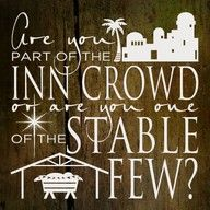 Inn crowd or stable few? Put this on a charger. Italicize  Inn & Stable