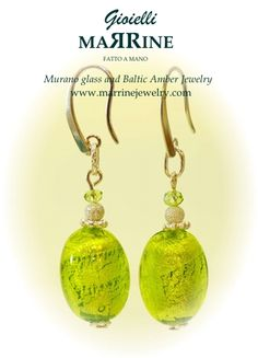 Murano glass earrings, venetian jewelry Green Diamond looks perfect with matching murano necklace and bracelet