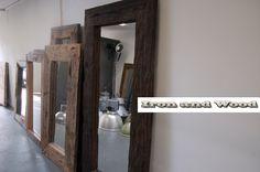Grote robuuste spiegels van oud sloophout / oude wagondelen. Handgemaakte spiegels van Iron and Wood. Kijk op www.ironandwood.nl