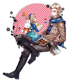 Willem (head-canon name for Netherlands) with a little Anouk (head-canon name for Belgium). And look at her Miffy bag - so cute! - Artist unknown
