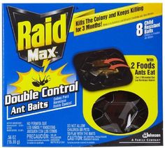 Raid Max Double Control Ant Bait-8 ct. by Raid. $8.99. Has two foods ants eat: Attracts more species of ants. Replace all baits every three months to keep ants from returning. Ants crawl in to eat, then ccrawl away to die. Effective against: Argentine ants, cornfield ants, black carpenter ants, pharaoh ants and others. Raid Max Double Control Ant BaitRaid Max Double Control Ant Baits use the same easy place and go bait traps as normal Raid Ant Baits, however, R...