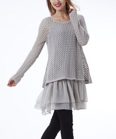 Gray Crochet Layered Tunic