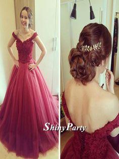 Off Shoulder Burgundy Lace Prom Dresses, Burgundy Off Shoulder Lace Formal Dresses #shinyparty #prom #dress #promdress #formal #lace #lacedress #long #burgundy #offshoulder