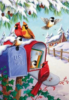 Birds in the snow Christmas time / – – – Bookmark your local weather FREE> w … - Christmas Cards Christmas Mail, Christmas Bird, Christmas Scenes, Christmas Greetings, Winter Christmas, Christmas Crafts, Christmas Decorations, Xmas, Winter Snow