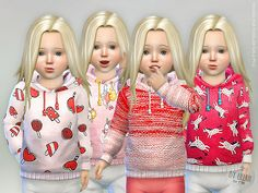The Sims 4 Hoodie for Toddler Girls Sims 4 Toddler Clothes, Sims 4 Cc Kids Clothing, Toddler Outfits, Kids Outfits, Toddler Girls, Toddler Fashion, Girl Fashion, The Sims 4 Pc, Sims 4 Mm Cc