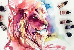 Katy Lipscomb usa e abusa de cores vivas juntamente com as formas fluídas, que dão um toque especial em seus desenhos com temática animal.