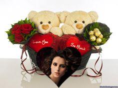Fotoefectos de ositos con corazones y flores para componer gratis.