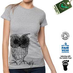 """OWL"" T-SHIRT - Organic Fair Trade by RetroActive via DaWanda"