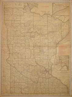 RARE Size MINNESOTA Map of Minnesota with by plaindealing on Etsy