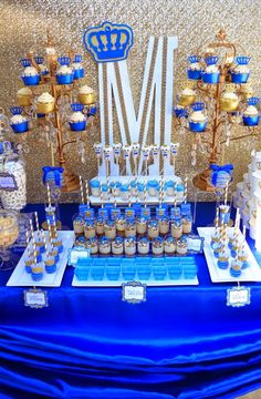 "Looking for the perfect Baby Shower inspiration? Try this ""ROYAL affair"". Dessert table decor 'royal' themed with royal blue and gold colors. Baby Shower Azul, Boy Baby Shower Themes, Baby Shower Cakes, Baby Boy Shower, Baby Boy Baptism, Baptism Party, Fiesta Shower, Shower Party, Prince Birthday Party"