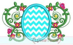 Easter Egg Flourish Applique 4x4 5x7 6x10 SVG  - Linnie Pinnie