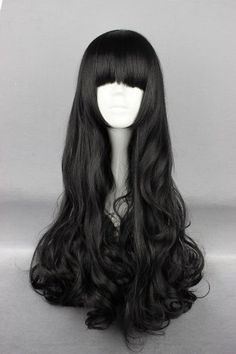 Prettymart Cosplay Wig Blake Belladonna Black 70cm Long Wavy Curly Hair *** Details can be found by clicking on the image.