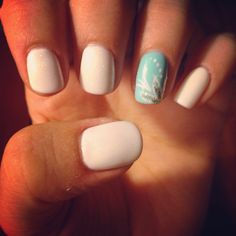 Summer nails. White and Tiffany blue
