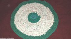 """BEAUTIFUL HAND CROCHET RAG RUG 20""""D ~ SPRING FLORAL ~ SHABBY COUNTRY CHIC Seller ID: sunflowercollectables"""